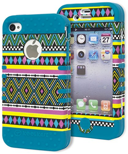 Iphone 4 Case, Bastex Heavy Duty Hybrid Protective Case - Neon Blue Soft Silicone Cover With Diamond Aztec Tribal Design Hard Shell For Apple Iphone 4, 4S, 4Gs