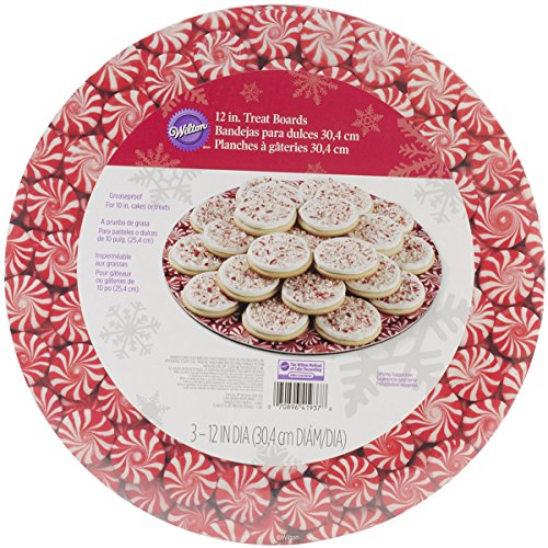 Wilton Industries 2104-1937 3-Count Christmas Peppermint Candy Cake Boards, 12-Inch