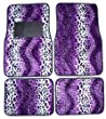Purple Leopard Animal Print Front &amp; Rear Carpet Car Truck SUV Floor Mats