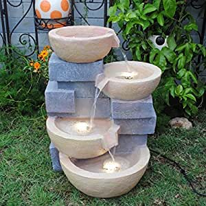 Pots water fountain with led light patio for Pot water fountain designs