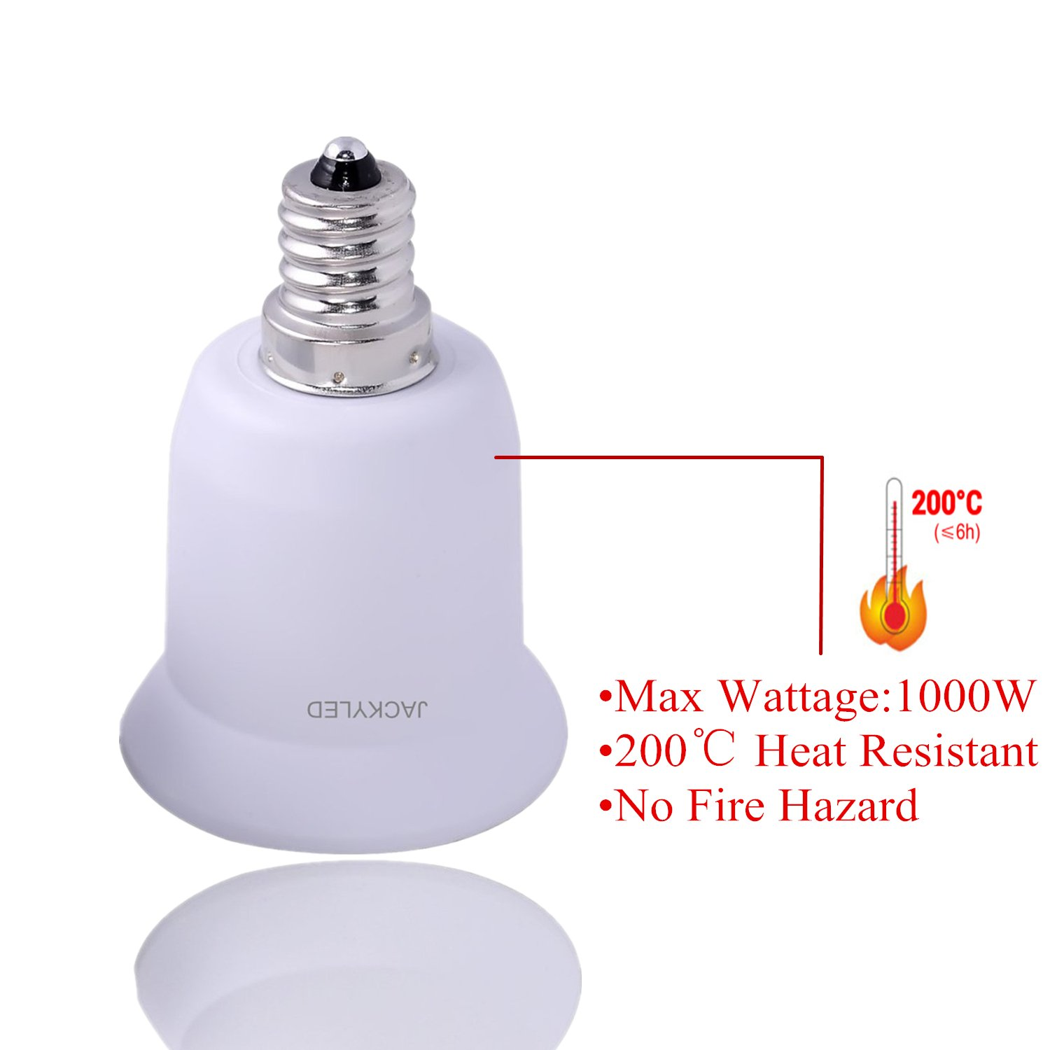 1-Pack E12 to E26 / E27 Adapter, JACKYLED Chandelier Socket (E12) to Medium Socket (E26/E27) Converter ,Max Wattage 1000W,200℃ Heat Resistant,No Fire Hazard