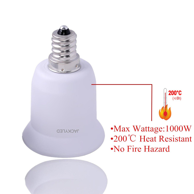 1-Pack E12 to E26 / E27 Adapter, JACKYLED Chandelier Socket (E12) to Medium Socket (E26/E27) Converter ,Max Wattage 1000W,200℃ Heat Resistant,No Fire Hazard