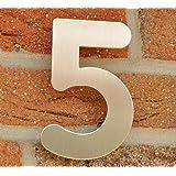 Hausnummer Nr. 5 - Edelstahl gebürstet - 15 cm - witterungsbeständig - einfache Montage