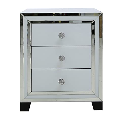 Manhattan White Modern Elegant Bedside Table 3 Drawer Mirrored Cabinet Furniture
