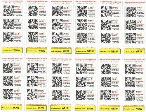 Dynotag Web/Gps Enabled Qr Code Smart Tags - 100+8 Ready To Use Unique Stickers For Asset Management
