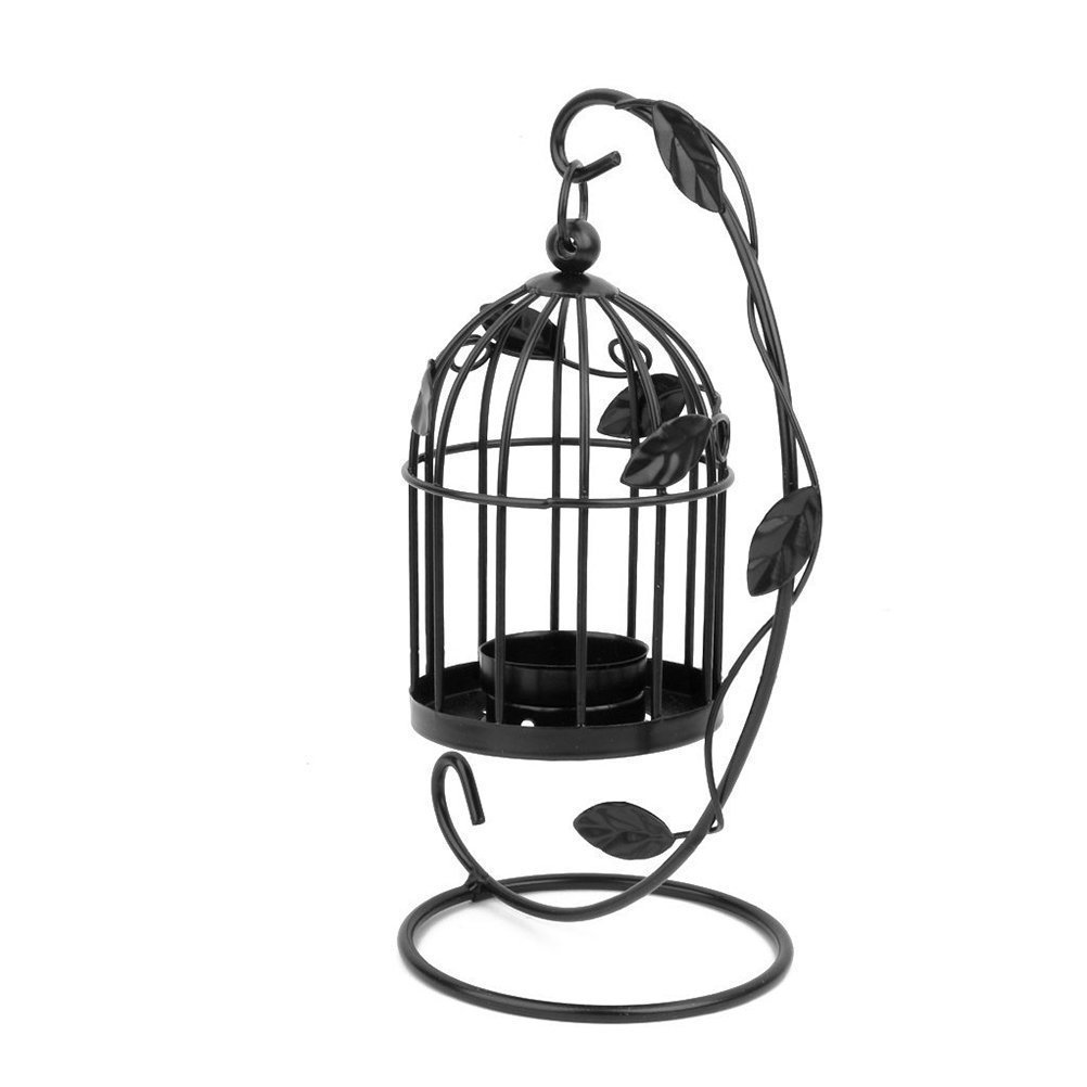 Tinksky Hanging Candle Holder Stand Candlestick Candle Cage Lantern (Black) 2