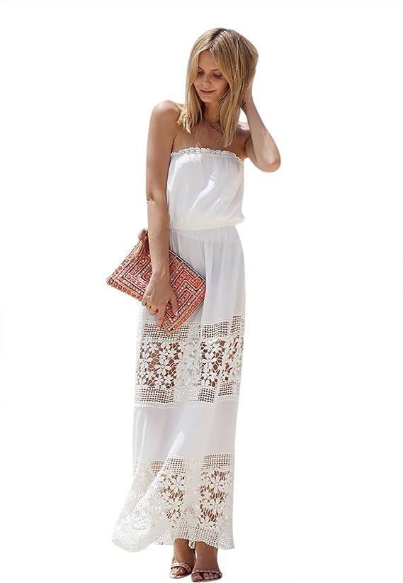 Moxeay reg Charming Women Strapless White Lace Chiffon Tube Top Maxi Dress