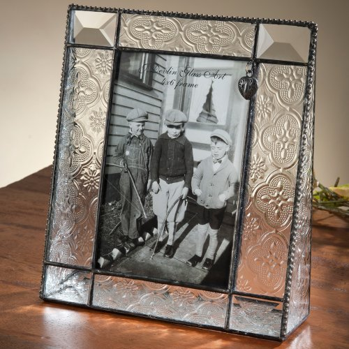 J Devlin 4x6 Vertical Stained Glass Picture Frame - Vintage & Bevels with Heart Charm