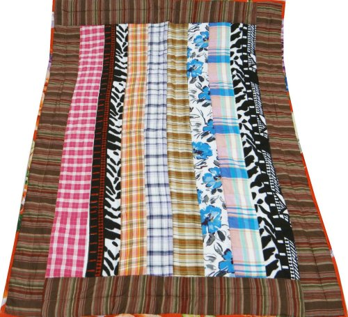 """Multicolored Baby Quilt Crib Size Cotton Reversible Bedspread Home Decor Patchwork Decorative Gudri India 49"""" X 39"""" Inches Free Shipping front-317797"""