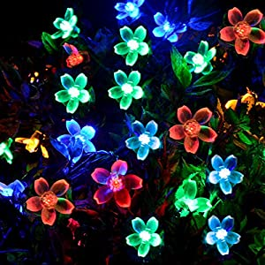 [50 Led] Solar Outdoor String Lights\ Fairy Blossom Outdoor Lighting, 8 Mode (Steady, Flash), Waterproof, Decor for Garden, Yard, Patio, Christmas, Tree, Party, Holiday, Home (Multi-Color)