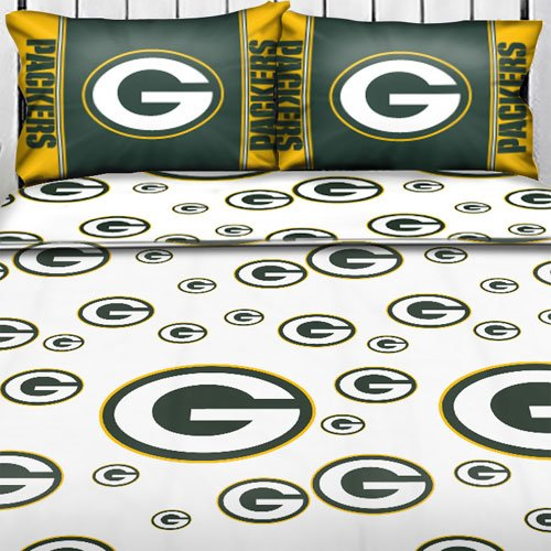 Nfl Green Bay Packers Logo Twin Sheets - Football Sheet Set Twin-Single Bed front-504649