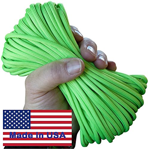 7-Strand Spring Grass Neon Green Paracord / Parachute Cord 100 Ft. Hank. Guaranteed U.S. Made Military Survival Cord, Type III,
