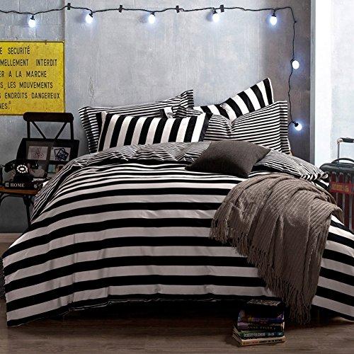 QzzieLife Cotton 4pc Bedding Duvet Cover Sets Striped