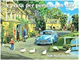 Morris pickup, flat bed motor car. Milkman on delivery, country setting. For house, home, pub, cafe or bar. Large Metal/Steel Wall Sign
