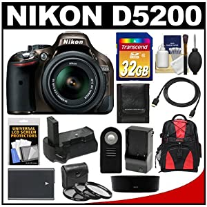 Nikon D5200 Digital SLR Camera & 18-55mm G VR DX AF-S Zoom Lens (Bronze) with 32GB Card + Backpack + Grip + Battery & Charger + Remote + HDMI Cable + Filters Kit