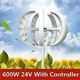 24V 600W Wind Turbine Generator Vertical Axis Garden Boat Wind Motor&Controller 5-Blade Windmill Power Charge Lantern White