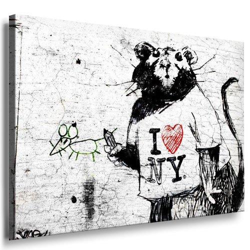 "Banksy Bild - 70x50cm k. Poster ! Bild fertig auf Keilrahmen ! Pop Art Gemälde Kunstdrucke, Wandbilder, Bilder zur Dekoration - Deko / Top 100 ""Banksy"" Modern Bilder"