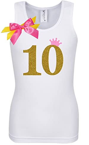 Bubblegum Divas Big Girls 10th Birthday Pink Gold Princess Shirt