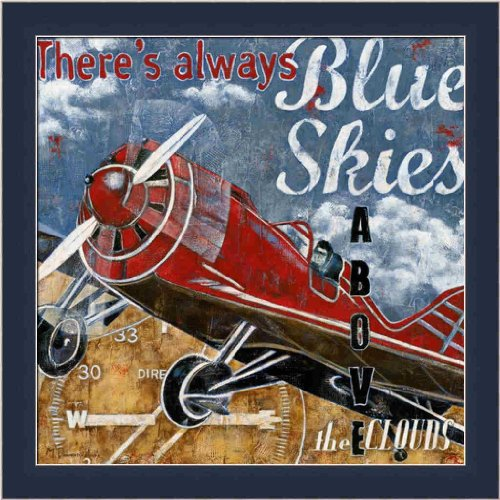 Blue Skies By Maria Donovan Airplane Boys Room Decor 13.5X13.5 Framed Art Print Picture Wall Decor front-965976