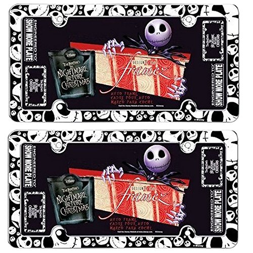 Jack Skellington Faces Heads Expressions Tim Burton Nightmare Before Christmas Disney Auto Car Truck SUV Vehicle Universal-fit License Plate Frame - Plastic - PAIR (Nightmare License Plate Frame compare prices)