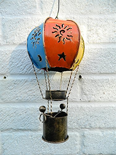 Hot Air Balloon Hanging Metal Tea light Candle Holder - Vintage Coloured 25cm