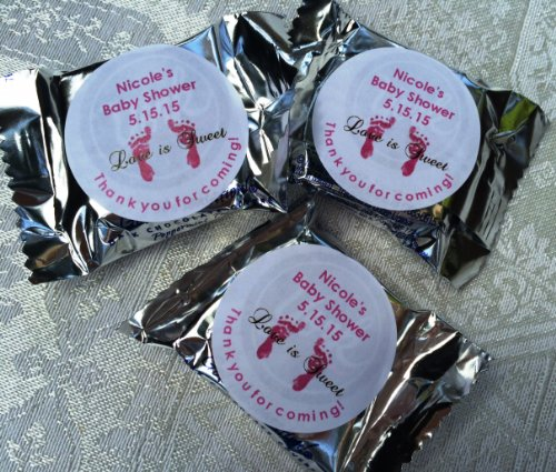 120 FOOTPRINTS BABY Shower Circle Stickers/Favors for YOUR York Peppermint Patty/Patties Candy. These are PERSONALIZED stickers to make baby shower favors. (Baby Shower Personalized Stickers compare prices)
