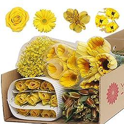 Monochromatic Yellow Flowers (Gerberas, Roses, Alstroemeria and Babys Breath)