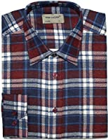 Mens Work Shirts Brushed Cotton Flannel Long Sleeve Stylish Check Pattern Rectangles