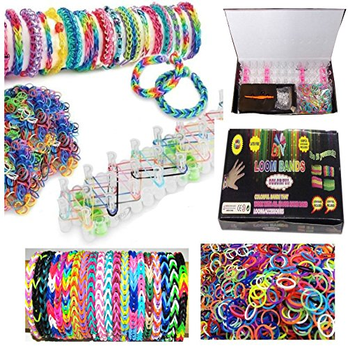 Loom Band Kit, 600 Rainbow Bandz + 25 Clips, bracelets loom kit (Also Includes 6 Charms)