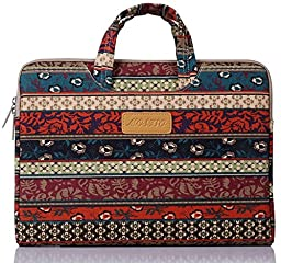 Mosiso Bohemian Style Canvas Fabric 15-15.6 Inch Sleeve Laptop / Notebook Computer / MacBook Air / MacBook Pro Briefcase Carry Case (Internal Dimensions: 15.16 x 0.79 x 10.63 inches), Mystic Forest