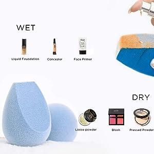 JUNO & Co. Microfiber Fusion Sponge, 4 Pcs Makeup Sponge Set, Latex-Free, Flawless Makeup Blender for Foundations, Powders and Creams, 4 Fusion Sponge Bundle (Color: Blue, Tamaño: 4 Fusion Sponge Bundle)