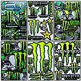 Set 6 Sheet Rockstar Energy Yamaha Kawasaki Metal Mulisha ATV Helmet Bike Motorcycle Motocross Racing Decal Sticker