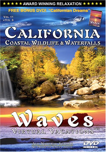 CALIFORNIA: Coastal Wildlife & Waterfalls DVD / WAVES: Virtual Vacations + Vol 3 Californian Dreams (SIDE 2) DVD - COMBO