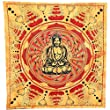 ORANGE RED LOTUS BUDDHA WALL ART DOUBLE BED SPRED SOFA COVER BEDDING THROW DE...