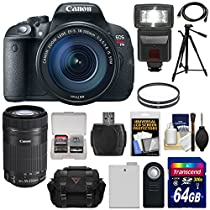Canon EOS Rebel T5i Digital SLR Camera & EF-S 18-135mm & 55-250mm IS STM Lens with 64GB Card + Battery + Case + Flash + Filters + Kit