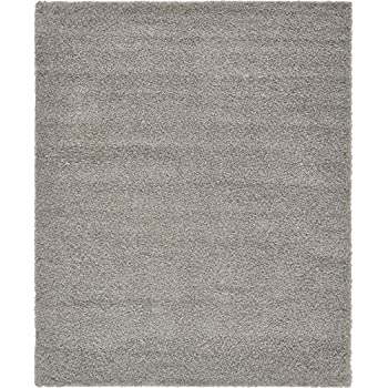 Unique Loom Solid Shag Collection Cloud Gray 8 x 10 Area Rug (8 x 10)