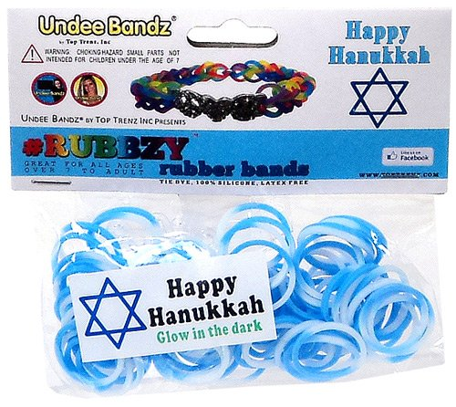 Undee Bandz Rubbzy 100 HANUKKAH WHITE & BLUE GLOW-in-the-DARK Tie-Dye Rubber Bands with Clips