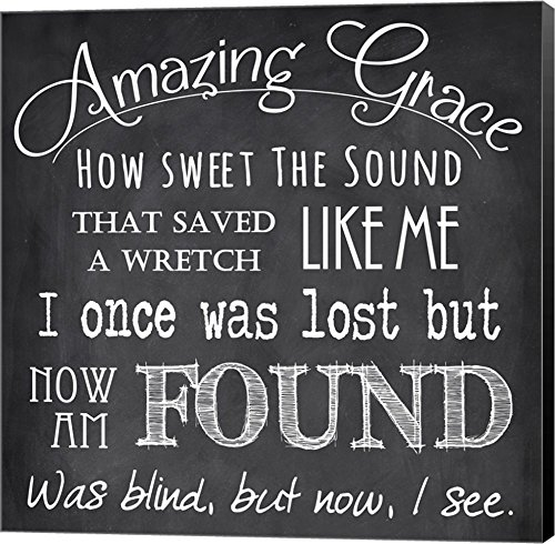 Amazing Grace Chalkboard by Veruca Salt Canvas Art Wall Picture, Museum Wrapped with Black Sides, 20 x 20 inches (Amazing Grace Picture compare prices)