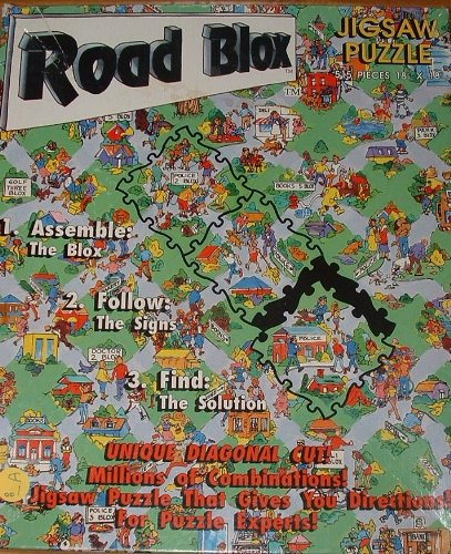 "Road Blox Jigsaw Puzzle 515 pieces Diagonally Cut 18""X18"""