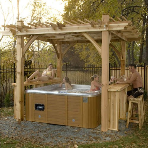 Cedar wood hot tub hot tubs - Bar canopy designs ...