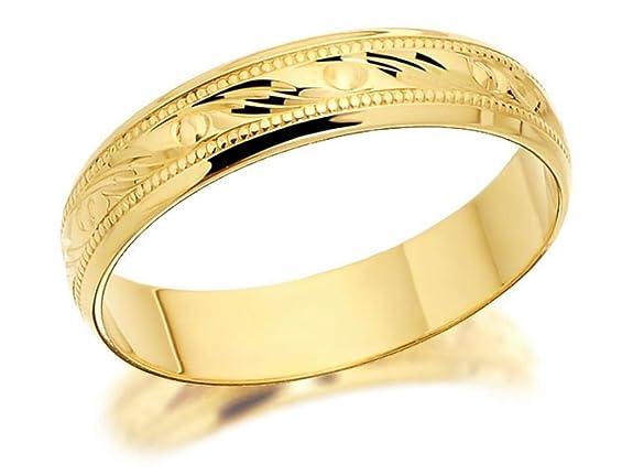 F.Hinds Womens Jewellery Jewelry 9ct Gold Beaded Swirls Brides Wedding Ring - 4mm