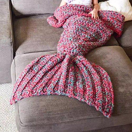 Meerjungfrauen-Decke, Wolle, handgefertigt, Strick, für Sofa, Bett, Schlafsack, Decke für Erwachsene und Kinder, Wolle, rot, 80*180cm(Adult)