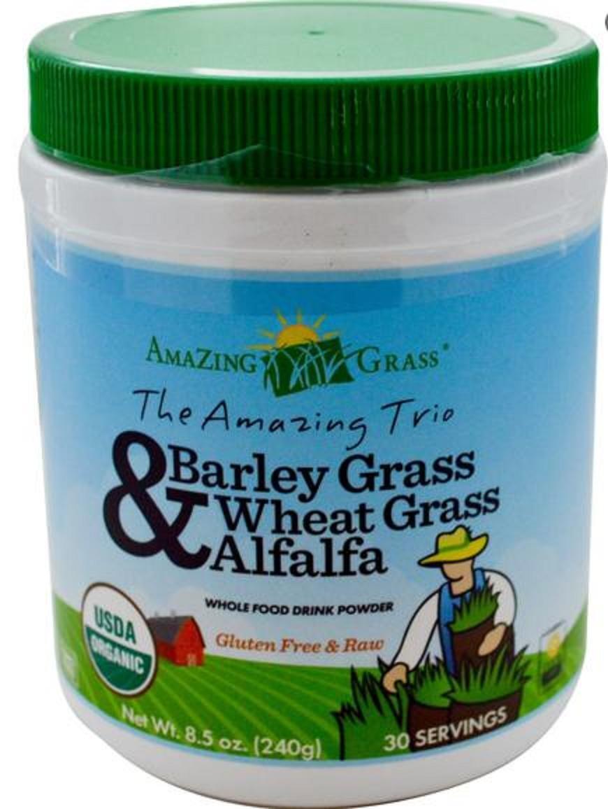 The Amazing Trio, Barley Grass(大麦若葉)& Wheat Grass(ウィートグラス 小麦若葉)& Alfalfa, Organic, Raw(生タイプ), 究極のデトックス効果【海外直送】 (240g(30回分)) [並行輸入品]