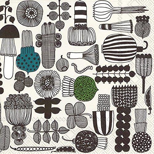 puutarhurin-parhaat-line-drawing-flower-fruit-vegetables-on-beige-marimekko-luncheon-paper-table-nap