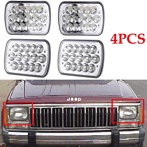 4PCS Rectangular 7x6 Inch LED Headlights Bulb Sealed Beam H6014 H6052 H6053 H6054 Projector lens For 86-95 Jeep Wrangler JK YJ CJ TJ MJ XJ (6054 Led Sealed Beam Headlight compare prices)