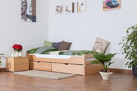 """Bett mit Stauraum """"Easy Sleep"""" K1/1n inkl 2 Schubladen und 2 Abdeckblenden, 90 x 200 cm Buche Vollholz massiv Natur"""