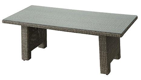 Table à manger en aluminium et Rattan - Dim : L.210 x D.100 x H.75 cm -PEGANE-