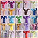 Satin Chair Cover Sash Bow Wedding Party Back Tie Ribbon Decoration Silver