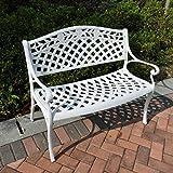 Lazy Susan Furniture - Rose Metal Garden Bench White
