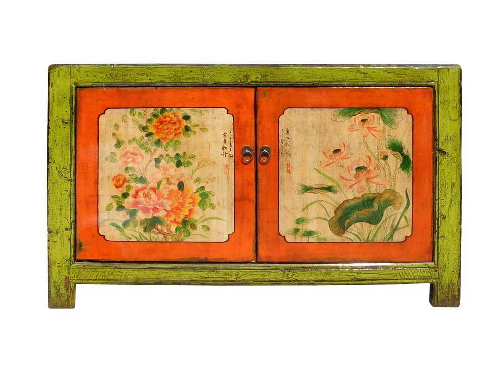 Chinese Lime Green Orange Flower Side Table Cabinet Acs1346 0